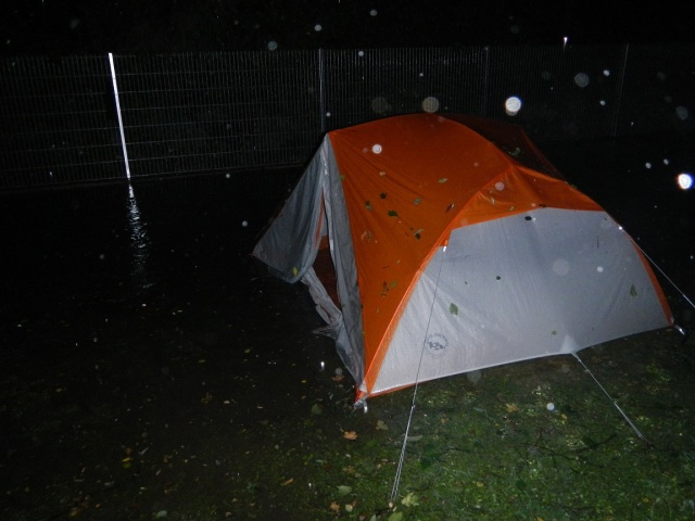 "The tent just before we took it down... at least 6"" of water below the tent floor."