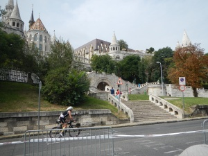The Buda Castle and an Ironman Athlete- look at all those stairs.