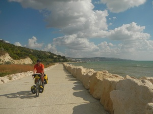 Beautiful Boardwalk - a sea wall to protect the hills.