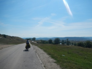 Jay riding along the Mures River to Sebes