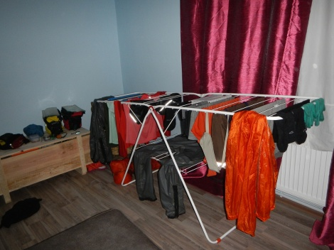 Drying our gear post deluge