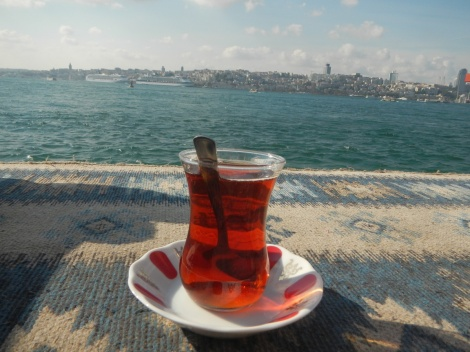 Tea on the Asian side - the European side is across the Bosphorus