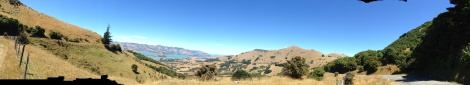 The view  of Akaroa Harbor from Summit Road.