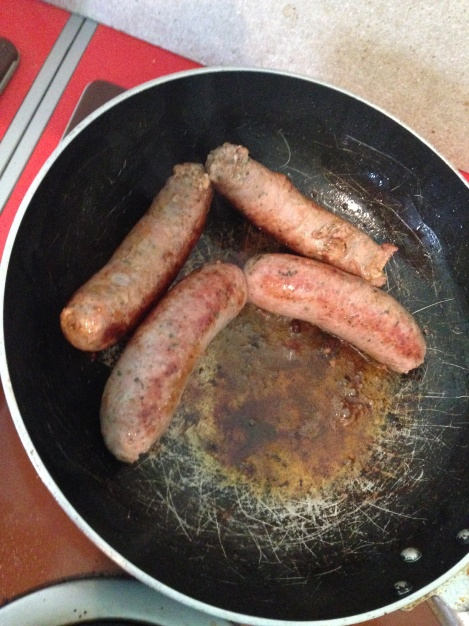 Hotton Sausages cooking up for breakfast