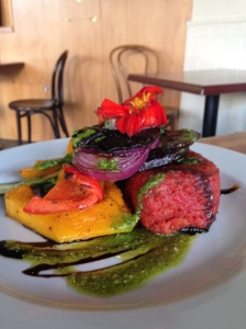 The Vegetarian option at Hot Mommas - Beet Risotto with grilled vege!