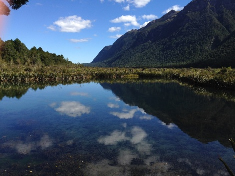 Mirror lakes on the road to Milford Sound.