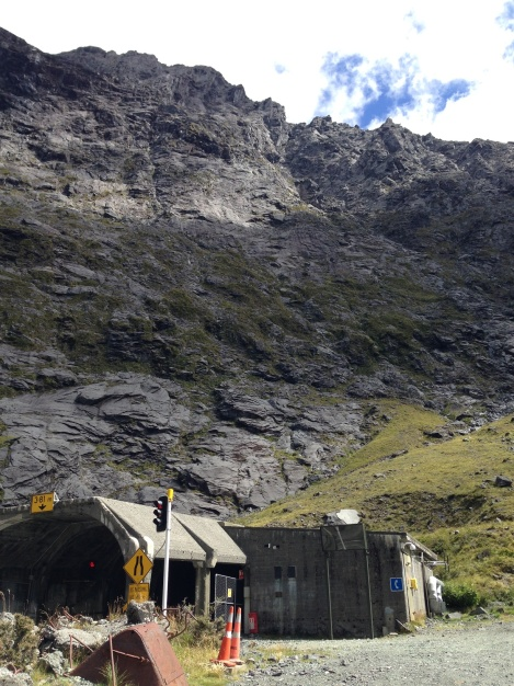 The south side of the homer tunnel entrance.