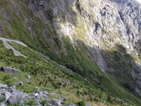 The road down to the sound from the Homer tunnel