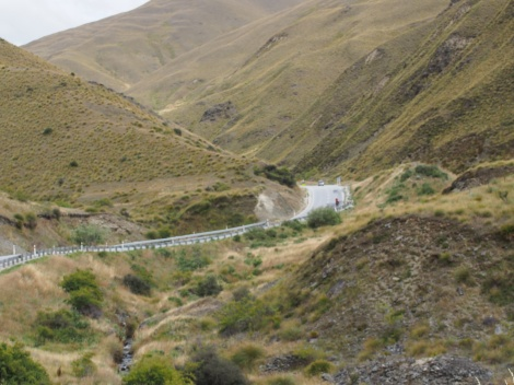 JP descending slowly down the Cardrona Canyon.