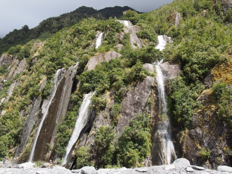 Waterfalls abound in the rain forest - these were taken at the Franz Joseph Glacier