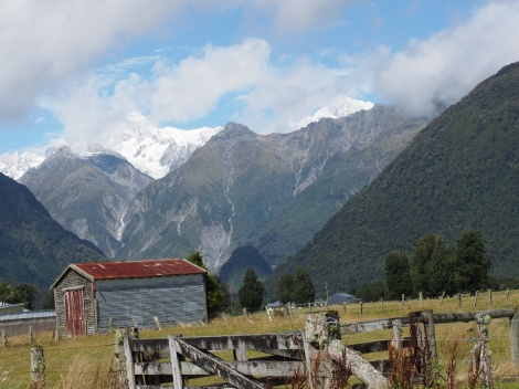 Mt Cook from Franz Joseph township during a rare break in the rain.