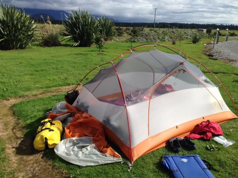 Our tent at Haast beach - just minutes before the deluge began.