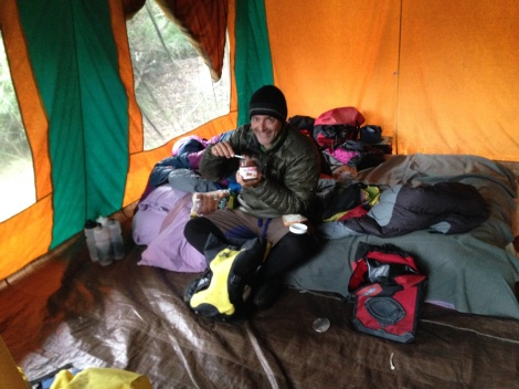 Inside the tent structure on the