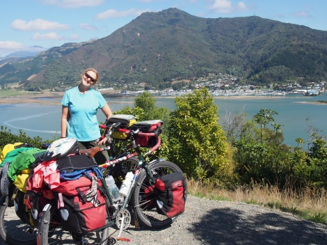 Flying our flags - laundry on the back of the bikes in New Zealand.