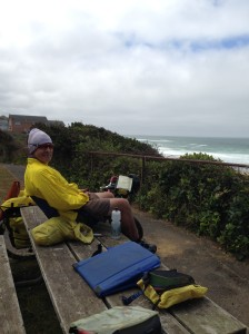 Lunch at Glen Eden Beach - yes we sit on top of picnic tables.